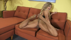 Blonde Adriana Sephora in tight stockings fetish bends over