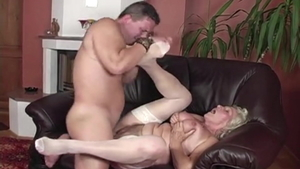 Hairy hungarian Granny Norma in stockings creampied