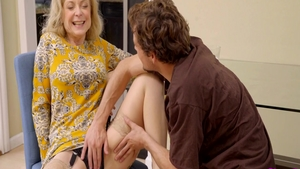 Fingering with Nina Hartley in company with Tyler Nixon