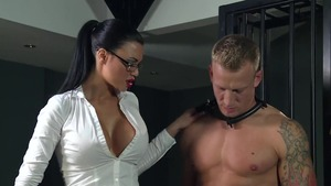 BDSM with muscled asian blonde
