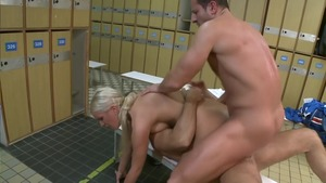 Bald european blonde helps with closeup getting facial HD