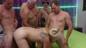 Chubby piercing caucasian blonde haired extreme gangbang in HD