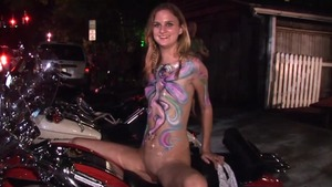Rides a hard dick in public with shaved blonde babe