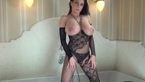 Nailing busty in fishnets