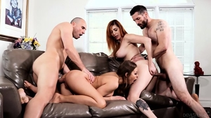 Group sex in company with huge boobs redhead