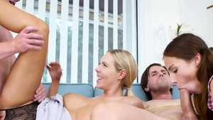 Large tits blonde lusts group sex