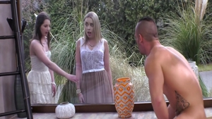 Bitch Canela Skin submissive FFM outdoors