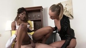 Ebony in her lingerie interracial pounding