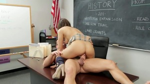 Couple Sara Luvv in glasses rides a hard dick in the school