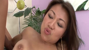 Busty Jackie Lin doggy style receiving facial