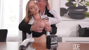 Steve Holmes pounds large tits Suzie Moss in office