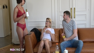 Anna Polina beside Liya Silver rough cock sucking