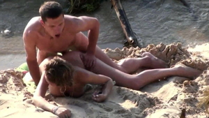 Couple softcore at the beach