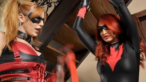 Very nice redhead in mask fantasy pussy fuck tied up in HD
