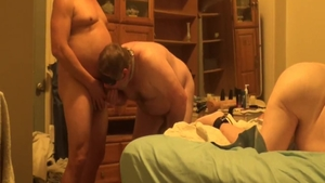 Chubby bisexual finds irresistible threesome HD