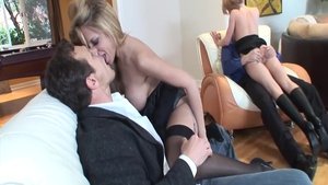 Raw ramming hard escorted by Phoenix Marie and Holly Wellin