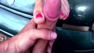 Foot licking in company with incredible blonde babe