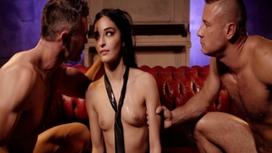 Young american Emily Willis in stockings rough gangbang