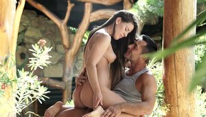 Young Athina Love cumshot outdoors