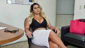 Pierced blonde babe POV anal fucking in office