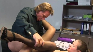 Cumshot in office young german in pantyhose