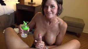 Cumshot together with tanned mature
