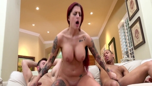 Cumshot together with busty redhead Lea Lexis
