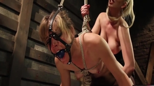 Mona Wales wearing fishnets & Cherry Torn sex toys