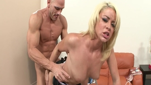 Huge tits babe wearing suit impressed by Johnny Sins