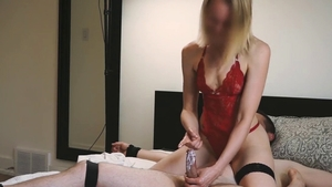 Trimmed pussy mistress masturbating with vibrator