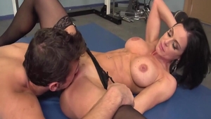 Horny brunette Kendra Lust cum on face doggy sex