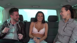 Mea Melone & Wendy Moon group sex in car