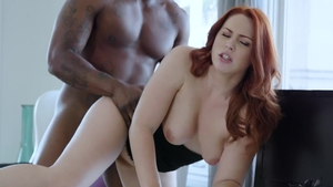 Big ass ebony redhead Edyn Blair hardcore cumshot in HD