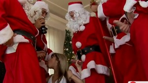 Group sex on Xmas among big butt teen Gina Gerson