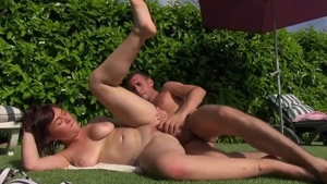 Rough loud sex accompanied by hairy brunette