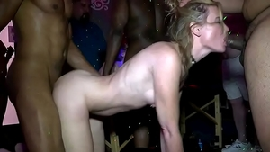 Hairy blonde private receiving facial at the party