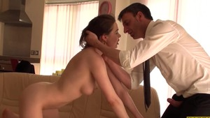 Submissive cum on face between french brunette Tina Kay in HD
