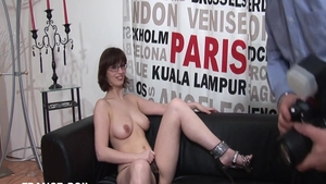 Busty french brunette has a taste for erotic nailing