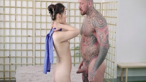 Inked asian brunette rough fingering