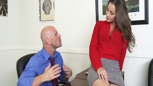 Dani Daniels together with Johnny Sins in office