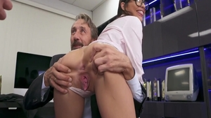 Emily Willis next to Mick Blue rough double penetration
