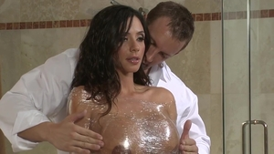Real sex in company with hairy brunette