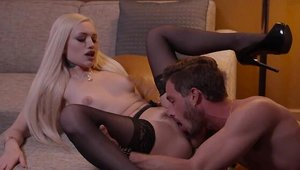 Blonde Alex Grey in sexy stockings reverse cowgirl on sofa