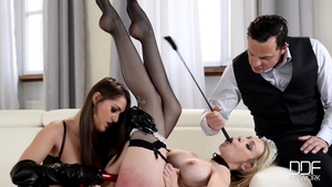 Large tits and naughty maid in sexy stockings brutal threesome