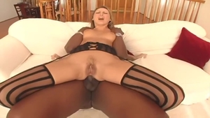 Blonde Mandy Bright in sexy stockings anal interracial