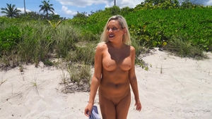 Large tits blonde flashing outdoors in HD