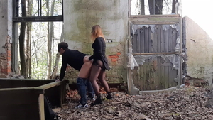 Russian wearing pantyhose ass pounded outdoors