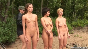 Busty blonde group sex strapon outdoors in HD