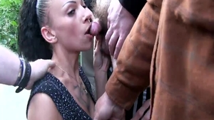 Chick in fishnets licks King Cock