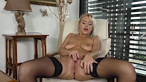 Solo large tits in sexy stockings female masturbating